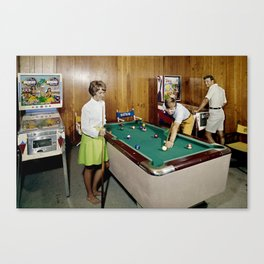 1960's Game room with Pinball and a Pool Table in the Admiral Motel in Wildwood, NJ Canvas Print
