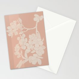 Pink Apple Blossom Botanical Line Drawing Stationery Cards