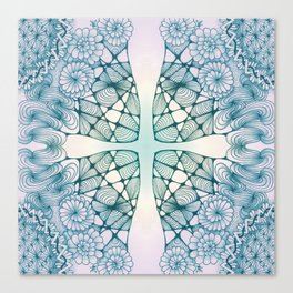 Blue Wash Zentangled Cross Tile Doodle Design Canvas Print