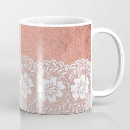 White floral luxury lace on pink rosegold grunge backround Coffee Mug