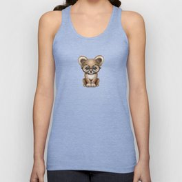 Cute Baby Lion Cub Wearing Glasses on Blue Unisex Tank Top