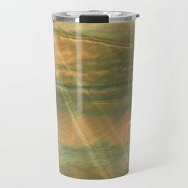Brown green colored watercolor pattern Travel Mug