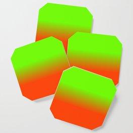 Neon Green and Neon Orange Ombré  Shade Color Fade Coaster