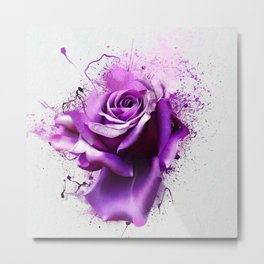 Beautiful purple rose closeup on a white background, with elements of the sketch and spray paint, as illustration for the cover of a notebook or Notepad, or print for garment Metal Print