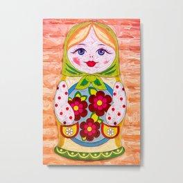 Russian Matryoshka Nesting Doll in Colour Metal Print
