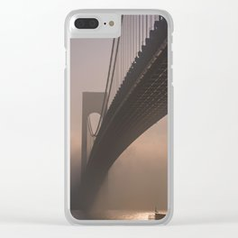 Amazing view of the bridge in the fog Clear iPhone Case