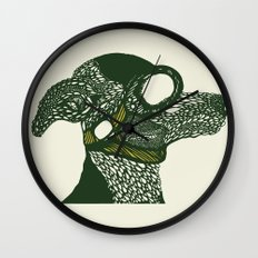 Dog likes to fly planes Wall Clock