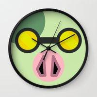 animal crossing Wall Clocks featuring Animal Crossing Cobb by Rebekhaart