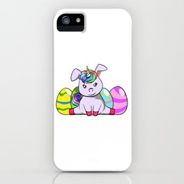 "Cool Unicorn Shirt For Mommies ""Happy Easter"" T-shirt Design Palm Rabbit Jump Eggs Easter iPhone Case"