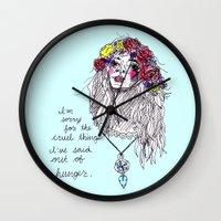 girl power Wall Clocks featuring girl power by HiddenStash Art
