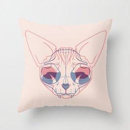 Sphynx Cat Skull Double Exposure - Overlay Hairless Kitty Illustration Throw Pillow