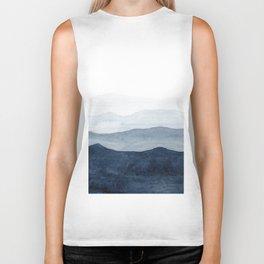 Indigo Abstract Watercolor Mountains Biker Tank