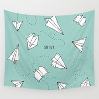 airplanes Wall Tapestries featuring SO FLY. by shoooes