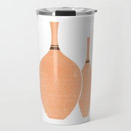 Greek Pottery 24 - Vases - Terracotta Series - Modern, Contemporary, Minimal Abstract - Sandy Brown Travel Mug