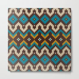 Modern knitted fair isle ethnic style Metal Print