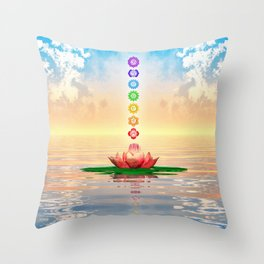 Sacred Lotus - The Seven Chakras First Edition Throw Pillow