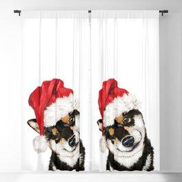 Christmas Black Shiba Inu Blackout Curtain