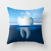 tooth Throw Pillows featuring Tooth Iceberg by Dan Cretu