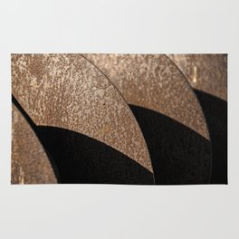 Rusted Disker Plow Light and Shadow Abstract Rug