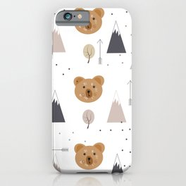 Seamless kids pattern with lovely cute bears and forest iPhone Case