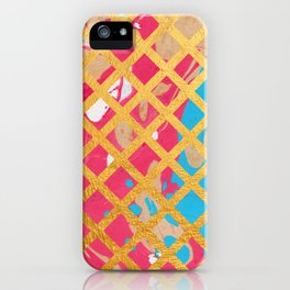 Pink Marble Gold Geometric Pattern iPhone Case