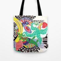 rio de janeiro Tote Bags featuring RIO DE JANEIRO 001 by Maca Salazar