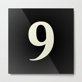9 (BEIGE & BLACK NUMBERS) Metal Print