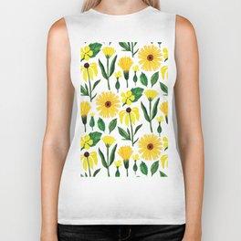 Watercolor sunshine yellow green daisies floral Biker Tank