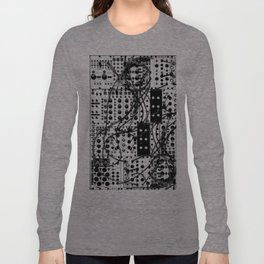 analog synthesizer system - modular black and white Long Sleeve T-shirt
