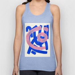 Tribal Pink Blue Fun Colorful Mid Century Modern Abstract Painting Shapes Pattern Unisex Tank Top