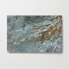 Earthy Blue and Gold Rock Metal Print