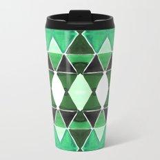 Art Deco Triangles Green Metal Travel Mug