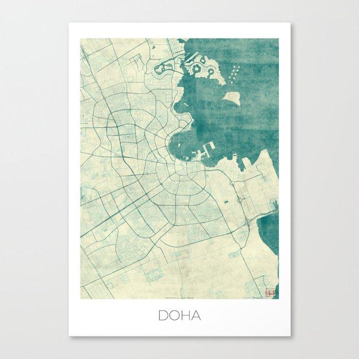 Doha Map Blue Vintage Canvas Print