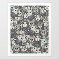 sweater Art Prints featuring sweater mice mint by Sharon Turner
