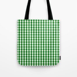 Christmas Green Gingham Check Tote Bag