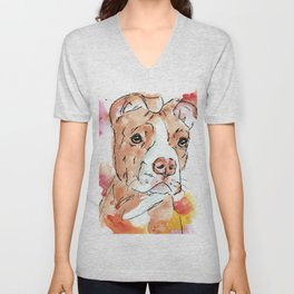 Puppy Red Nose Pit Bull Unisex V-Neck