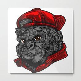 Urban Gorilla Face Metal Print