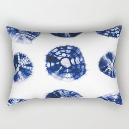 Shibori Kumo dots blue & white aligned Rectangular Pillow