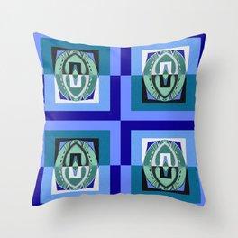 Teal Aqua Indigo Color Therapy Mid Century Modern Geometric Throw Pillow