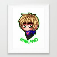 hetalia Framed Art Prints featuring England by Kurfluffle