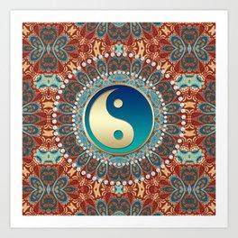 Bohemian Batik Yin Yang Art Print