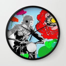 Red Flowers and Lady biking Wall Clock