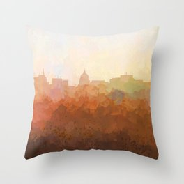 Madison, Wisconson Skyline - In the Clouds Throw Pillow