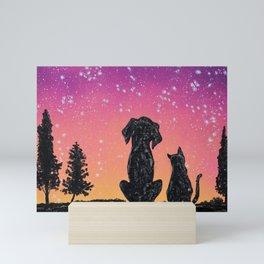 Dog Cat Silhouette Mini Art Print