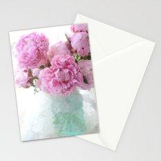 Impressionistic Romantic Peonies In Vintage Aqua Vase Stationery Cards