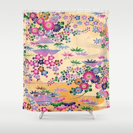 SUMI WITH PINK FLOWERS Shower Curtain