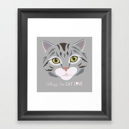 Allergy Free Cat Love: Silver Tabby Framed Art Print