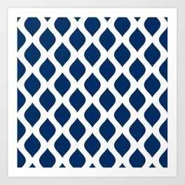 Dark blue and white curved lines pattern Art Print
