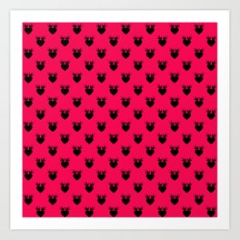 Strawberry Love Bird Hearts Art Print
