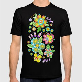 Background colorful flowers, doodleart, abstract graphic-desing vector pattern T-shirt